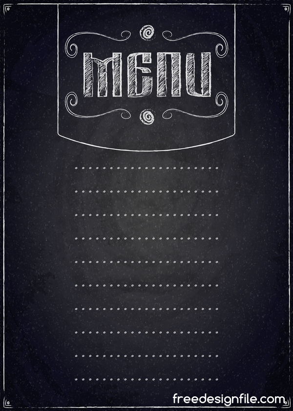 restaurant menu with chalkboard background vector 01
