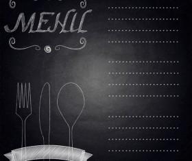 Restaurant Menu With Chalkboard Background Vector 02