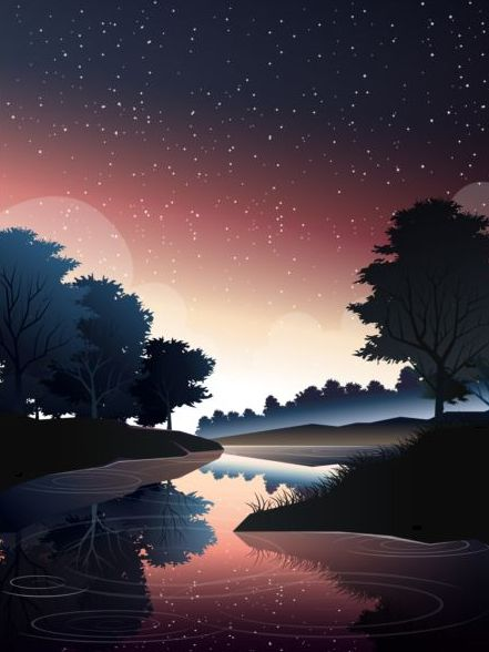 river in deep forest at dusk vector