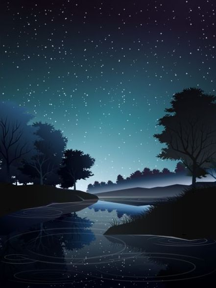 river in deep forest at night vector