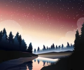 river in pine wood at dusk vector
