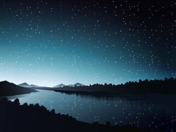 siluate river at night vector