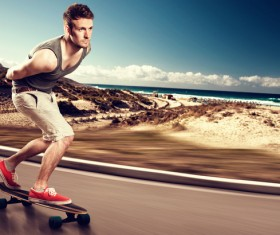 skateboarder on the road Stock Photo