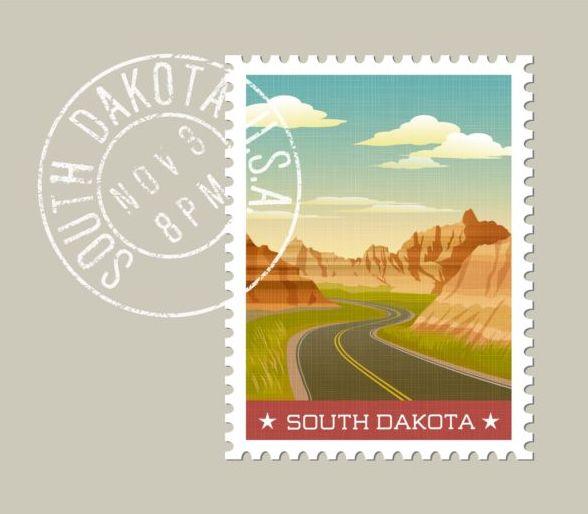 sodakota postage stamp template vector