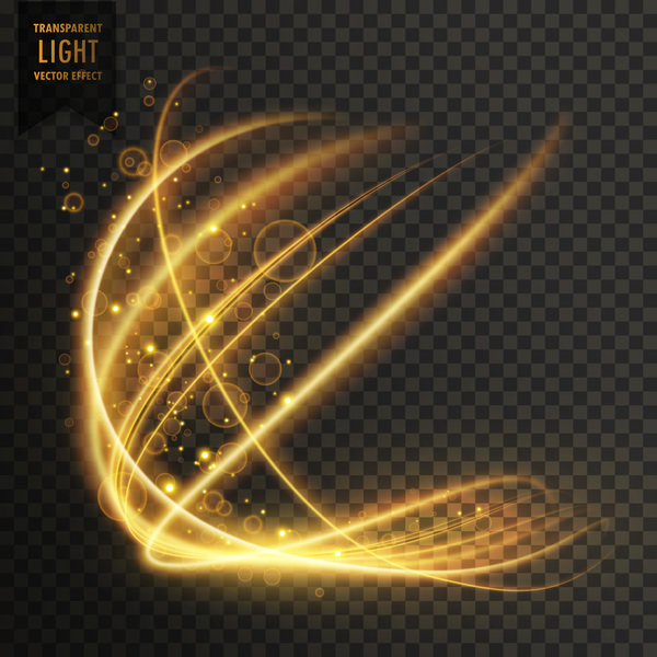 transparent golden light effect illustration vector 01