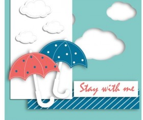 umbrella with cloud and cartoon card vector