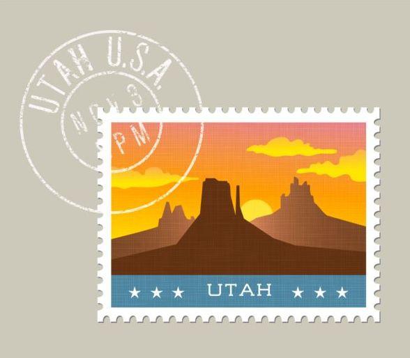 utah postage stamp template vector