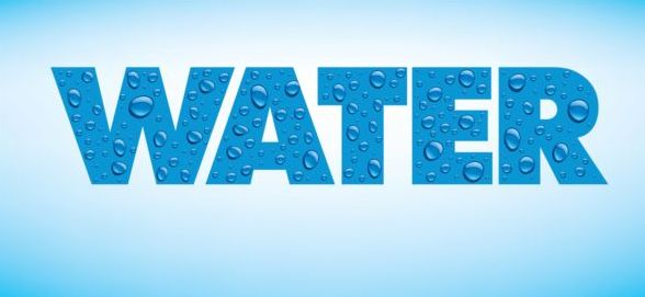water text with drops vector material