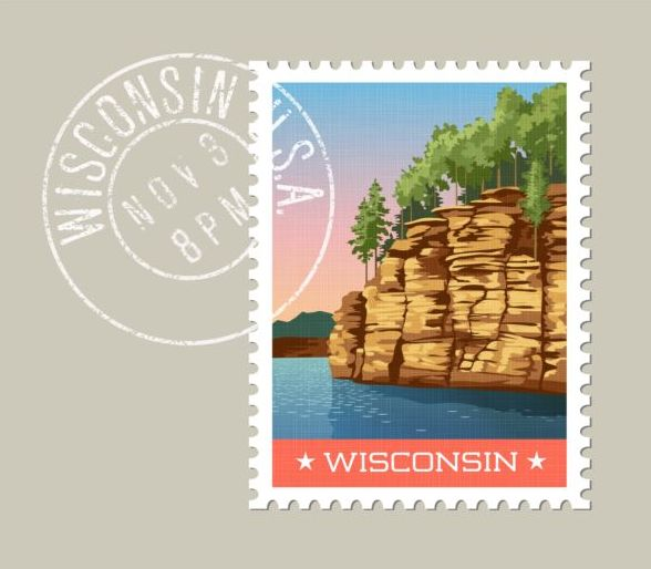 wisconsin postage stamp template vector