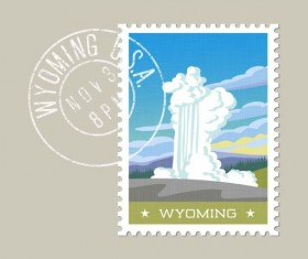 wyoming postage stamp template vector