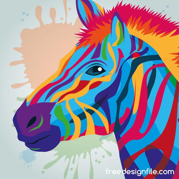 zebra hand drawn watercolor vector