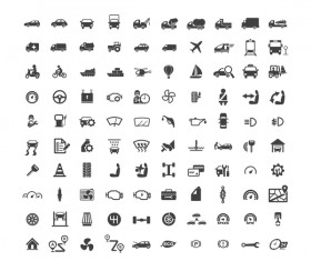 100 Transportation icons set