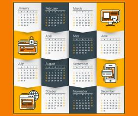 2018 business calendar template vectors 01