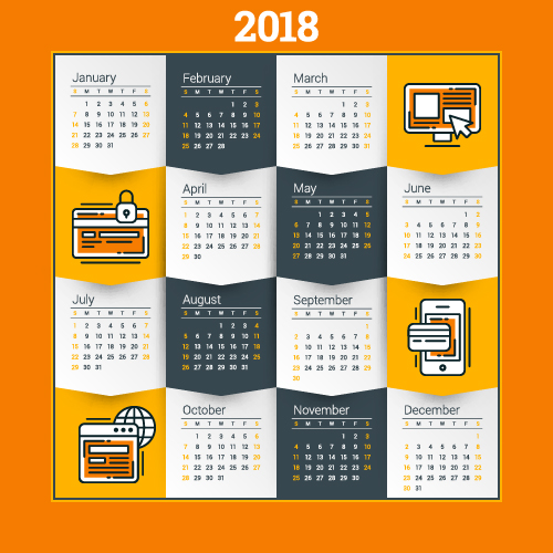 2018 business calendar template vectors 01