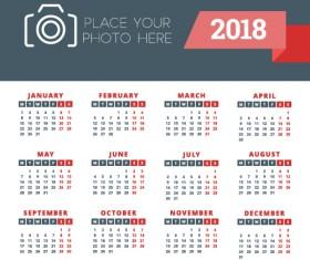 2018 business calendar template vectors 02