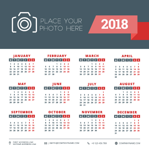 2018 business calendar template vectors 02