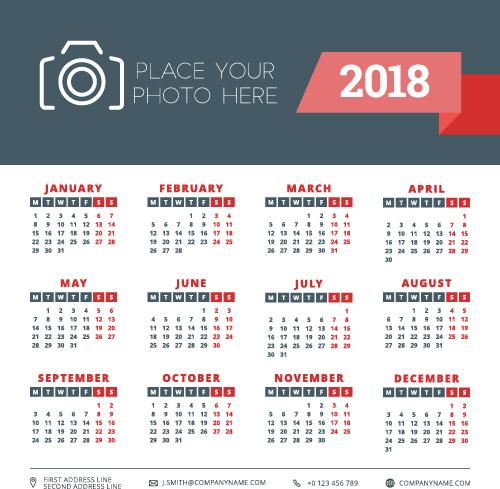 2018 business calendar template vectors 02 free download 2018 business calendar template vectors 02 wajeb Images
