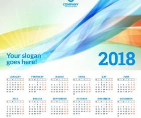 2018 business calendar template vectors 04