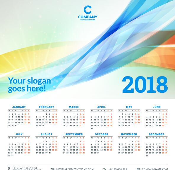 2018 business calendar template vectors 04