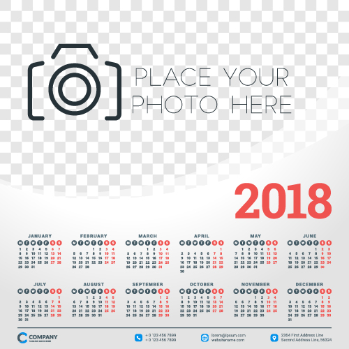 2018 business calendar template vectors 05