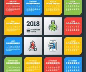 2018 business calendar template vectors 07