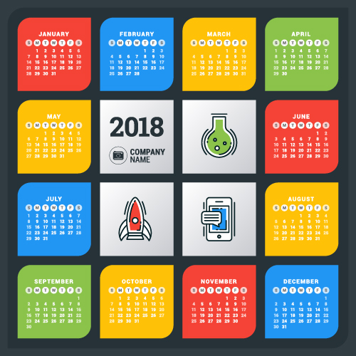 2018 business calendar template vectors 07