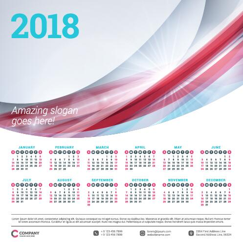 2018 business calendar template vectors 08