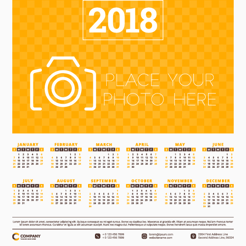 2018 business calendar template vectors 09