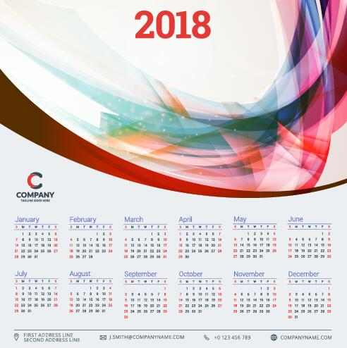 2018 business calendar template vectors 10 - Vector Business ...
