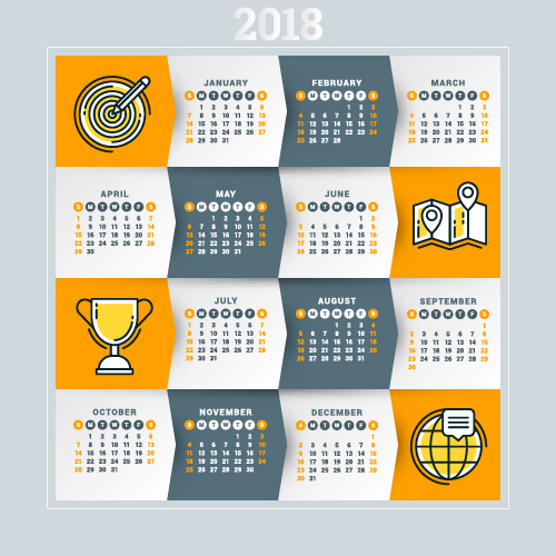 2018 business calendar template vectors 11