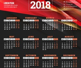 2018 business calendar template vectors 12
