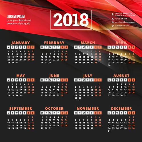 2018 business calendar template vectors 12