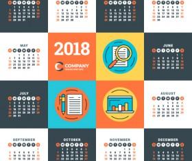 2018 business calendar template vectors 13
