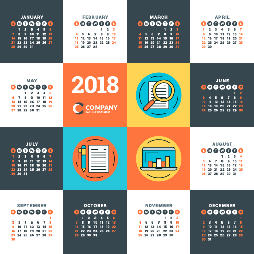 2018 business calendar template vectors 13