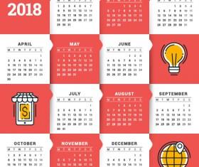 2018 business calendar template vectors 14