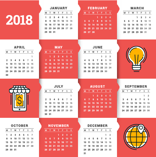 2018 business calendar template vectors 14