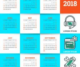 2018 business calendar template vectors 15