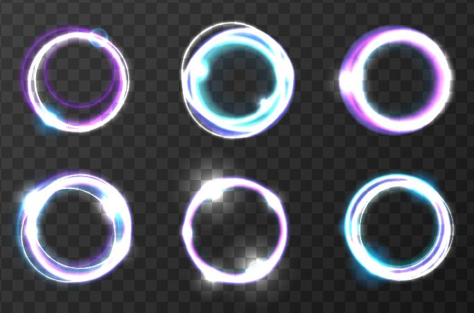 6 Kind light round effect illustration vector