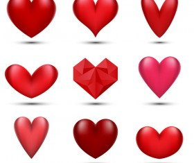 6 kind red heart vector set