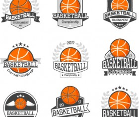 9 Kind basketball labels retro vector