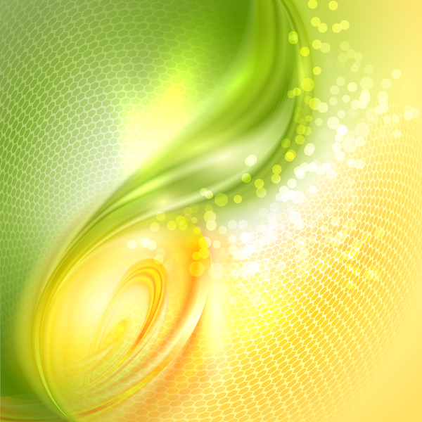 Abstract green wave and honeycomb background vector 02