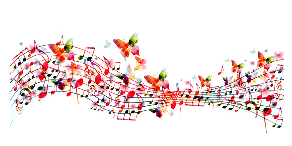 Abstract music background with colored butterflies vector 01