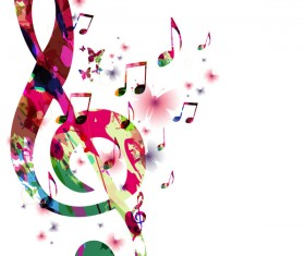 Abstract music background with colored butterflies vector 02