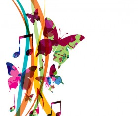 Abstract music background with colored butterflies vector 03