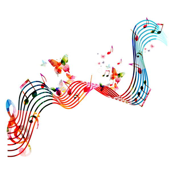 Abstract music background with colored butterflies vector 04