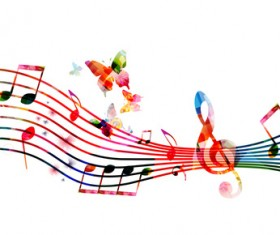 Abstract music background with colored butterflies vector 06