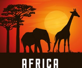 Africa elephants and giraffes with sunset landscape vector