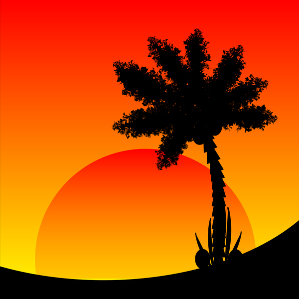 Africa silhouette and sunset background vector