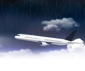 Aircraft and storm sky with clouds rain vector background