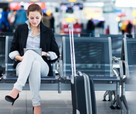 Airport business woman Stock Photo